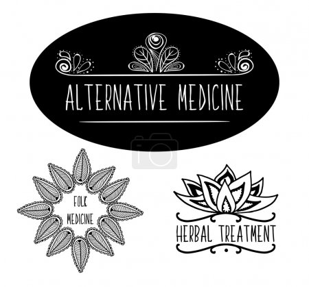 Illustration for Hand-sketched typographic elements for ads, of signboards, packaging and identity and web designs. Alternative medicine, herbal medicine, Ayurvedic medicine, traditional medicine. Ayurveda product labels. - Royalty Free Image