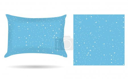 Decorative pillowcase pillow in the style of abstract winter blue background. Isolated on white. Interior design element. Winter, snowing. template. Vector