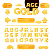 Colorful gold font for the creation and design of interface of mobile games and applications Vector illustration