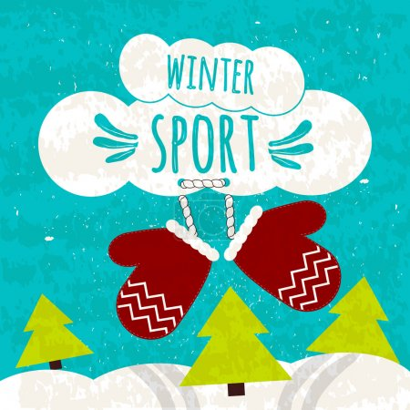 Juicy colorful typographic poster with the text about winter sports on the beautiful blue winter background with snow. Ski resorts.Vector