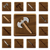Set of colorful cartoon wooden icons with various types of weapons from different metals and materials for the design of mobile games and browser-based online applications