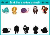 Mirror Image of five different animals happy and good Visual Game. Task find the right answer black shadow animals. All images are isolated on a white background and you can move them
