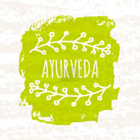 Illustration for Creative colorful green Ayurvedic poster isolated on white background with old paper texture. Vector illustration - Royalty Free Image