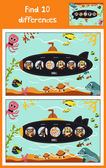 Cartoon of Education to find 10 differences in children's pictures submarine floats with animals among marine fishes and inhabitants  Matching Game for Preschool Children Vector illustration