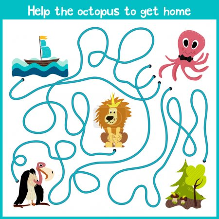 Cartoon of Education will continue the logical way home of colourful animals.Help the octopus to reach home at the bottom of the ocean right on the river. Matching Game for Preschool Children. Vector