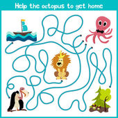 Cartoon of Education will continue the logical way home of colourful animalsHelp the octopus to reach home at the bottom of the ocean right on the river Matching Game for Preschool Children Vector