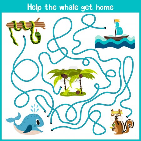 Cartoon of Education will continue the logical way home of colourful animals.Help the whale to swim into the water home right on the river. Matching Game for Preschool Children. Vector