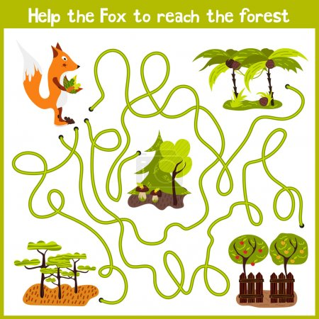 Cartoon of Education will continue the logical way home of colourful animals.Help me get crafty red Fox wild home in the forest. Matching Game for Preschool Children. Vector