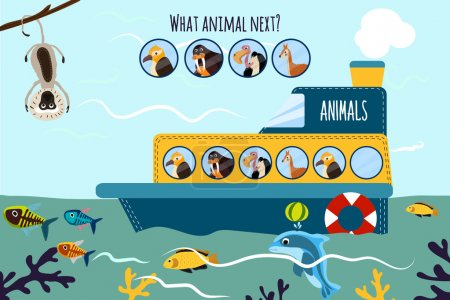 Cartoon Vector Illustration of Education will continue the logical series of colourful animals on a ship in the ocean among sea fishes. Matching Game for Preschool Children. Vector