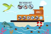 Cartoon Vector Illustration of Education will continue the logical series of colourful animals on a ship in the ocean among sea plants and animals Matching Game for Preschool Children Vector