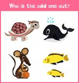 Children colorful educational cartoon game puzzle page for children's books and magazines on the theme extra find pet among Pets Vector