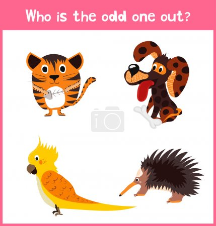 Children colorful educational cartoon game puzzle page for children's books and magazines on the theme extra find an animal among animals. Vector