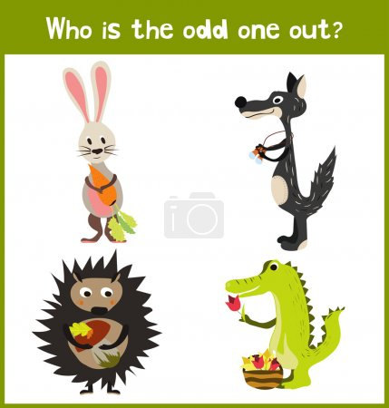 Children colorful educational cartoon game puzzle page for children's books and magazines on the theme extra find tropical predatory animal among wild animals. Vector