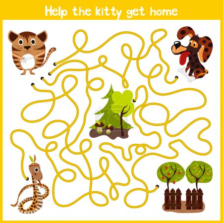 Cartoon of Education will continue the logical way home of colourful animals.Help me get the little kitty home by predatory animals. Matching Game for Preschool Children. Vector