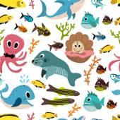 Cute seamless underwater texture design Cartoon style vector