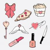 vector set of cartoon style cute objects