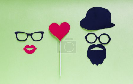 Paper people together in love on color background