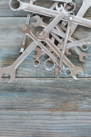 Photo for Workshop, repair. Tools on the wooden table - Royalty Free Image