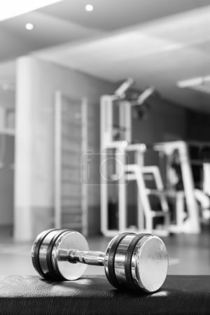 Sports dumbbells in sports club. Weight Training Equipment