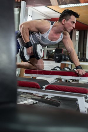 Handsome young muscled man working out with dumbbells in gym