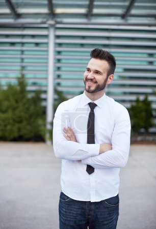 Friendly and smiling businessman