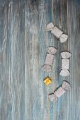 candy  on textured wooden background