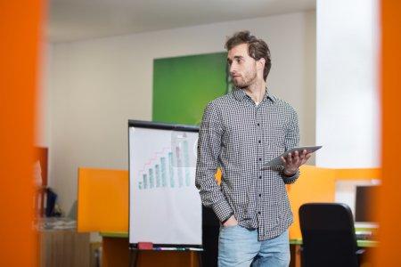 Portrait of young confident men employee dressed in casual cloth