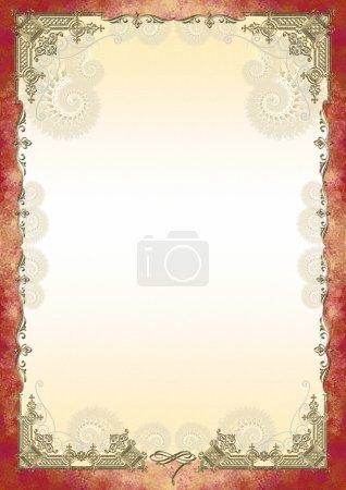 Photo pour Cadre décoratif, cadre rouge, fond jaune pâle, vignette dorée boucles beiges pour un certificat de diplôme de lettres de félicitations - image libre de droit