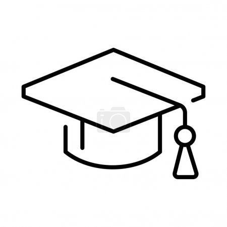 Illustration for Outline simple graduate hat icon vector illustration. Monochrome linear academic uniform headdress symbol of educational achievement isolated on white. Ceremonial college traditional wear - Royalty Free Image