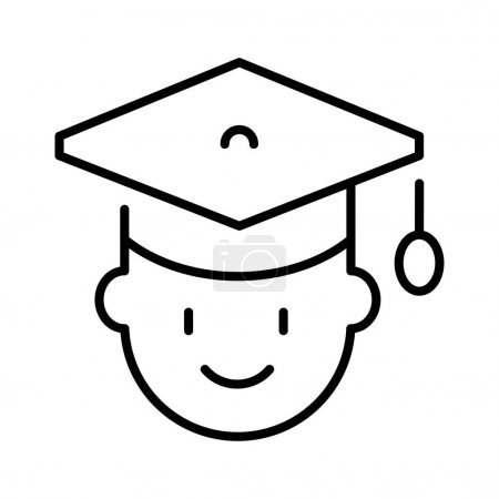Illustration for Monochrome human head in graduate hat icon vector illustration. Linear simple smiling student having academic achievement in ceremonial headdress isolated on white. Education degree uniform - Royalty Free Image