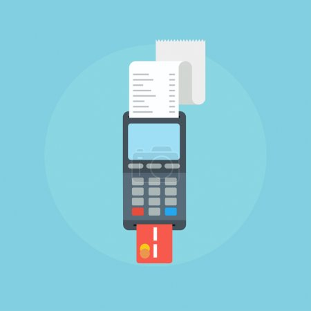 Illustration for Pos terminal in flat style. Pos payment.  Pos terminal concept icons. Illustration pos machine or credit card terminal. Concept of cashless payment and credit card payment.  Credit card machine. - Royalty Free Image