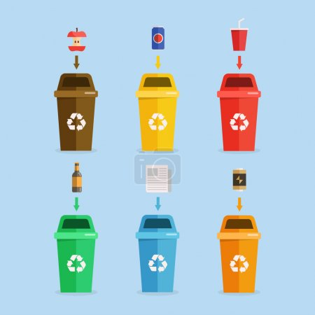 Waste sorting concept illustration