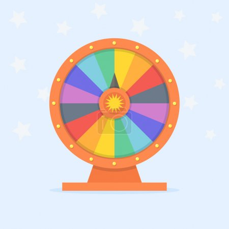 Illustration for Wheel of fortune vector illustration. Wheel of luck in flat style. Game wheel on colored background. Empty wheel of fortune. - Royalty Free Image