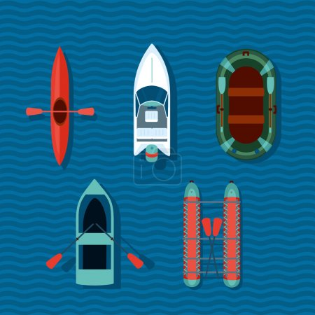 Illustration for Cartoon vector boats on a water. Flat style illustartion - Royalty Free Image