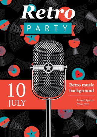 Photo for Retro party poster. Design template with a vintage microphone and vinyl records on the background. - Royalty Free Image