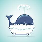 Velryba si koupel s mýdlovou vodou