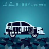 Oil industry icons on car silhouette