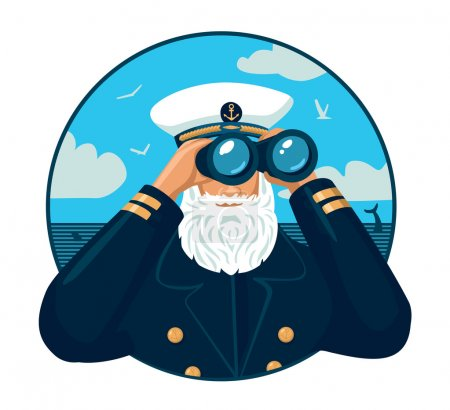 Illustration for Bearded captain looking through binoculars - Royalty Free Image