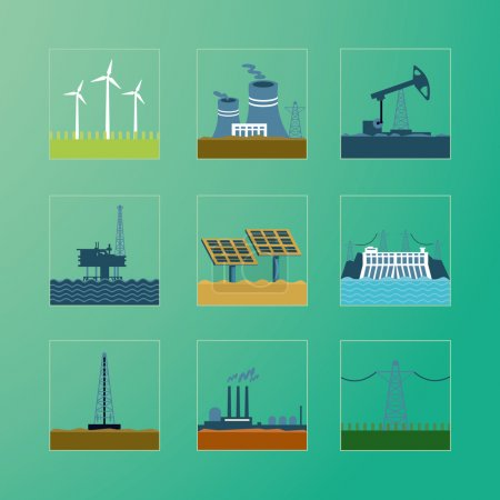 Energy generation icons set