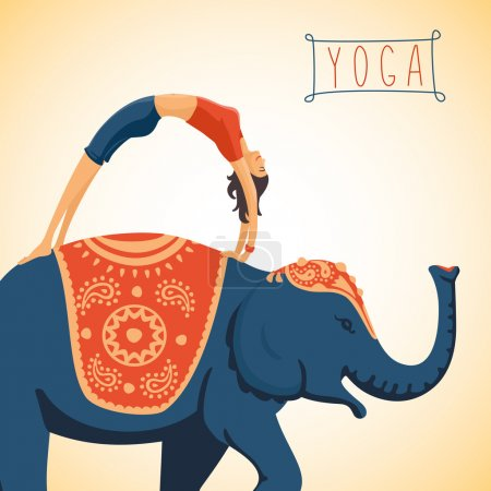 Photo for Colorful vector illustration of Harmony and balance. Young woman doing yoga standing on the back of an elephant. Flat style illustration - Royalty Free Image