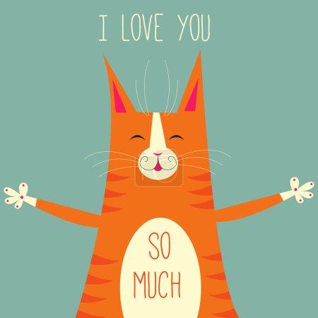 Illustration pour Jolie carte de vœux avec chat rouge. Illustration vectorielle - image libre de droit