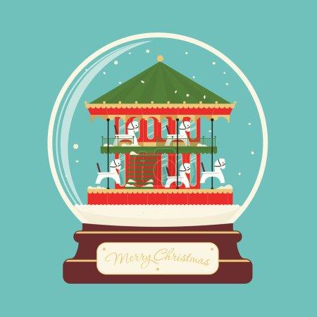 Boule de verre joyeux Noël avec les chevaux du carrousel. Paysage de célébration. Veille du nouvel an. Distractions de parc. Félicitation carte postale ou un poster