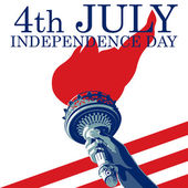 Fourth of July Liberty Torch USA flag EPS 8