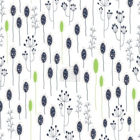 Illustration for Vector seamless floral pattern. Spring flowers in blue and green colors. Can be used for backgrounds, fabric prints, scrapbooking, cards, design paper. - Royalty Free Image
