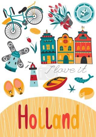 Illustration pour Modèle de carte vectorielle Pays-Bas avec des éléments hollandais traditionnels. Voyage de fond touristique. Pour cartes de vœux, brochures de voyage, étiquettes et étiquettes, production de souvenirs, invitations, calendriers . - image libre de droit