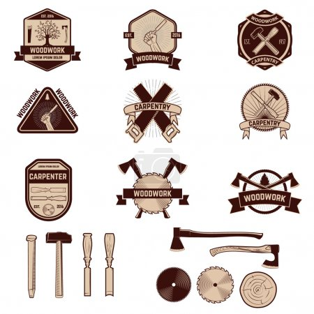 Set of the carpentry labels and emblems. Woodworks