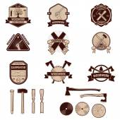 Set of the carpentry labels and emblems Woodworks