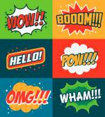 Set of comic style phrases Boom Wow OMG