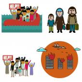 Refugees infographic elements.