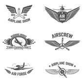 Set of airplane show labels isolated on white background